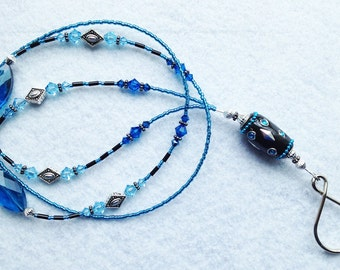 Atlantis - beaded badge lanyard - teal blue and silver glass beaded ID badge lanyard necklace for teacher nurse gift