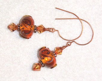 Butterscotch - glass lampwork and copper beaded earrings - dangle earrings - drop earrings