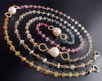 CUSTOM Made to Order - 14k Yellow Gold and Sapphire Necklace with Saltwater Akoya Pearls