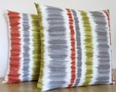 SET of 2 Gray, sage green and terracotta Ikat stripe decorative throw pillow cover 18 x18 inches Accent cushion sham slipcover.