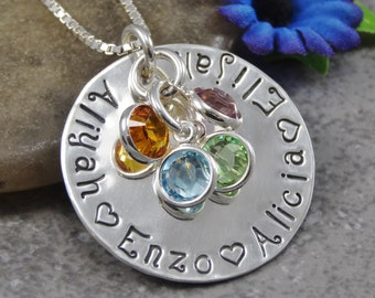 Hand Stamped Jewelry - Personalized Jewelry - Mother Necklace - Sterling Silver Necklace - Fits 30 Characters - Names and Birthstones