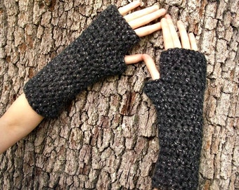 Crocheted Fingerless Gloves Mittens - Fingerless Gloves in Constellation Metallic Charcoal Grey - Grey Gloves Womens Accessories