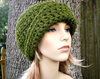 Crochet Hat Womens Hat 1920s Flapper Hat - Garbo Cloche Hat in Olive Green Crochet Hat - Green Hat Womens Accessories Winter Hat