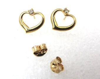 Vintage Gold Plated Heart Rhinestone Stud Earrings (2 pair) (J559)