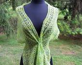 Lace Scarf Green wrap shawl wool