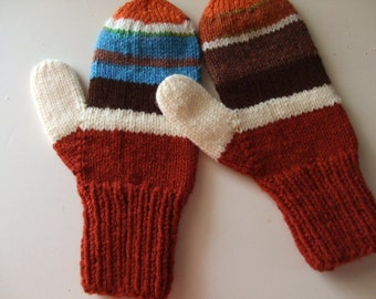 Hand Knit Mittens - A Little Bit Crazy - for Ladies/Teens
