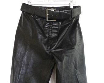Vintage Mens Black Leather Pants  French Biker Fetish Leatherman