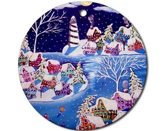 Winter Shore Lighthouse Snow Christmas  Folk Art Fun Whimsical Colorful Round Porcelain Ornament