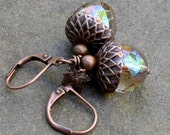 Acorn Earrings with Tiny Leaf Charms, Latte Mystic Glass on Antique Copper Leverback Earwires... Golden Nuts