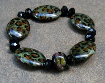 Gemstone and Lampwork Stretch Bracelet, Artisan Boro Glass, Leopard Howlite Smooth Ovals, Animal Print Boho Stackable Bracelet.