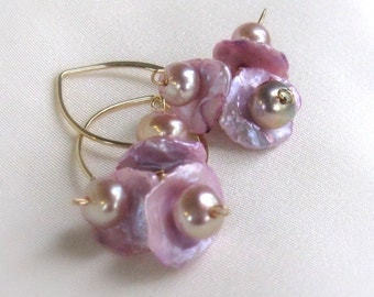 Pink Keshi Pearl Earrings, 14kt Gold Filled Handmade Almond Earwires, Freshwater Keishi Pearl Cluster Earrings