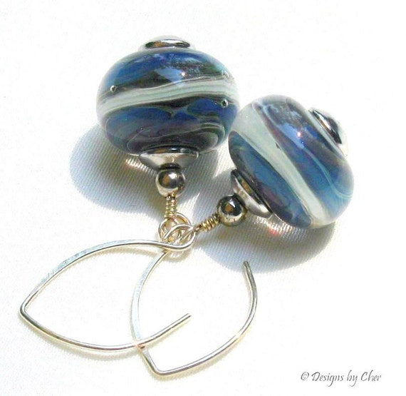 Blue Lampwork Boro Earrings, Sterling Silver Handmade Almond Earwires, Artisan Glass - Windswept Sea