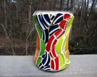 Pique Assiette Swirly Bright Colorful Pottery Mosaic Vase