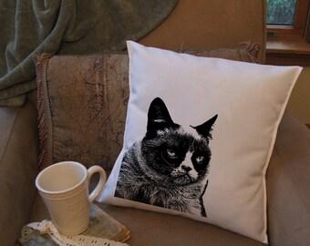 grumpy cat throw pillow cover, custom throw pillow, decorative throw pillow