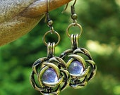 Recycled  Antique Amethyst Glass Bottle Brass Blossom Earrings