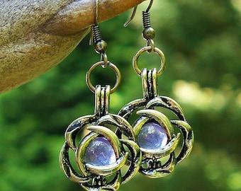Recycled  Antique Amethyst Glass Bottle Brass Blossom Earrings