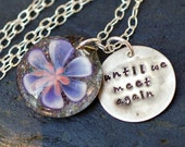Pet Cremation Pendant Handstamped Charm Glass Flower Water Lily Necklace Borosilicate Boro Lampwork, Hand Blown Glass Jewelry - Memorial