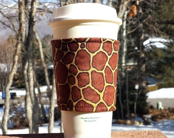 FREE SHIPPING UPGRADE with minimum -  Coffee cozy / coffee cup holder / coffee sleeve - Giraffe