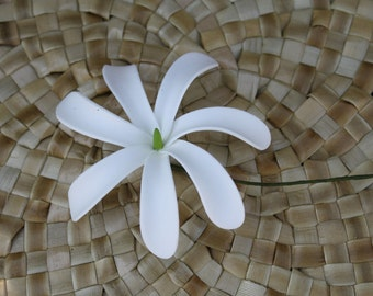 One dozen(12) 4.5 inch Tiare Flower Hair pick-with green center-hair stick- Tahitian gardenia