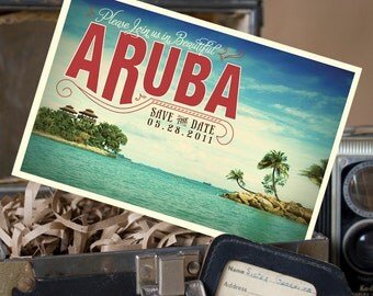 Vintage Postcard Save the Date (Aruba) - Design Fee