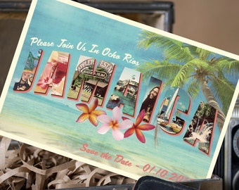 Vintage Large Letter Postcard Save the Date (Jamaica) - Design Fee
