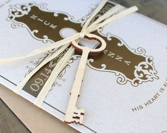 Key to My Heart Wedding Invitation (Printed Pocket Fold) - Design Fee
