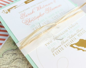 Modern Travel Wedding Invitation (Mexico) - Design Fee