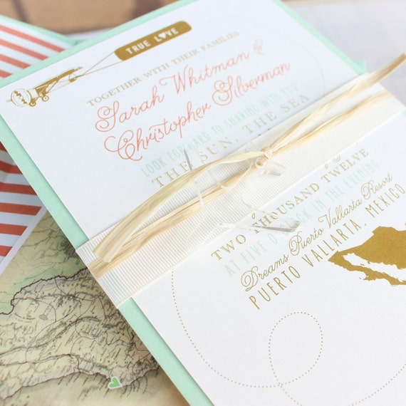 Modern Travel Wedding Invitation Mexico Design Fee