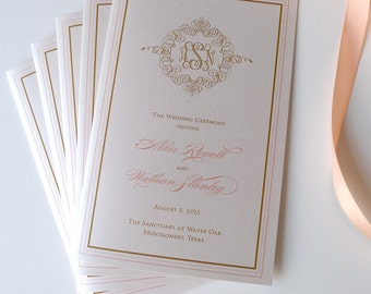 Deluxe Monogram Wedding Ceremony Programs