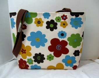 Large Fall Purse - Flora Handbag - Bold Flowers Purse - Inside Pockets