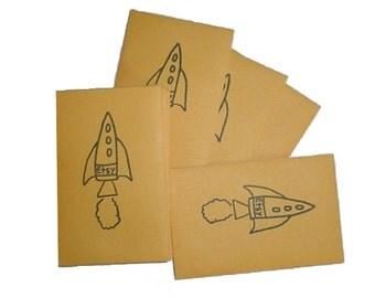 Etsy Rocket Hand Stamped Mini envelopes Manila Coin Envelopes - Business Card Size - Set of 25