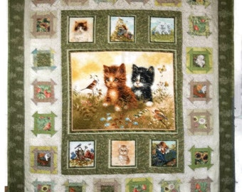 Patchwork Quilt, Kittens at Play