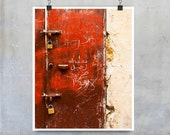 Morocco Door Print - Grungy red painted door with cream wall street urban 10x8 11x14 20x16 20x30 photograph poster wall art home decor print