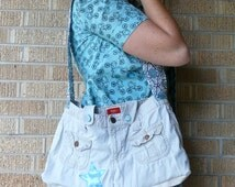 SALE Upcycled White Pants Blue Star Recycled Messenger Bag SALE