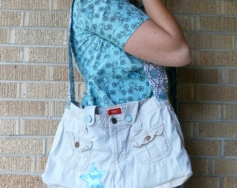Upcycled White Pants Blue Star Recycled Messenger Bag