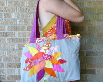 Upcycled Tote or Market Bag Tropical Recycled Tree