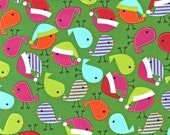 SALE Ann Kelle, Jingle 2, Holiday Birds in Bright Green Fabric - Half Yard