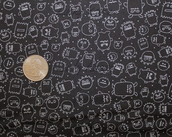 Moda, Sweetwater, Boo Crew,  The Monsters Black Fabric - REMNANT Size 27 Inches by 44 Inches