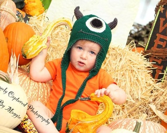 One Eyed Monster Earflap Hat with Horns For Infant-Child-Adult-Any Color