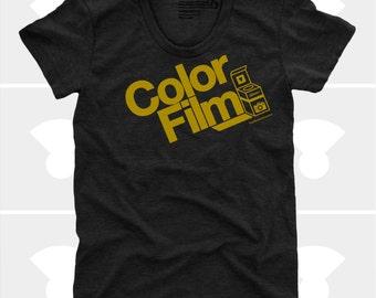 Color Film Women's TShirt, Tee Shirt, Womens Top, S,M,L,Xl, Film, Camera, Typography, Photography, Black Shirt (4 Colors) TShirt for Women