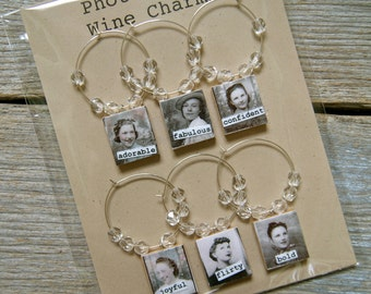 Photo Booth Wine Charm Set - 6 wine charms