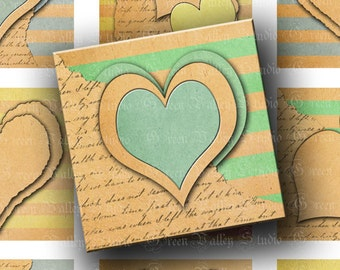 INSTANT DOWNLOAD Digital Images Collage Sheet Love Stripes Paper Hearts Two 2 Inch Squares for Tags Magnets Crafts (GSTWO53)