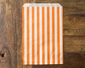 custom listing for BUNTJER23 - 300 striped bags - 5 X 7 - candy, treat, or gift - orange and white