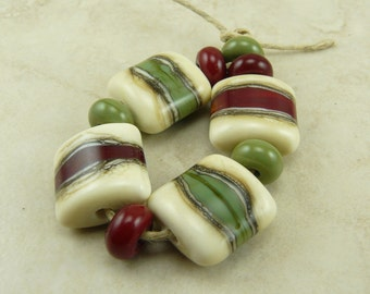 Made to Order - Rustic Christmas Lampwork Bead Set - Red Green Silvered Ivory Sage Cranberry Artisan Glass Beads SRA I ship Internationally