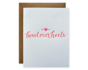 Head Over Heels Letterpress Card