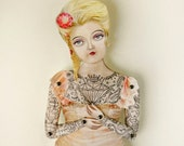 """Tattoo Lady Paper Puppet. Miss Pamella, Victorian Art Doll who is ready for a wedding, birthday. More Info? Scroll & Read """"Item Details"""""""