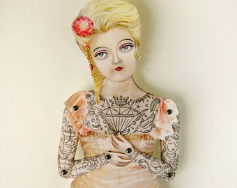 "Tattoo Lady Paper Puppet. Miss Pamella, Victorian Art Doll who is ready for a wedding, birthday. More Info? Scroll & Read ""Item Details"""