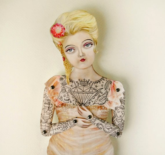 Spring Tattoo Lady Paper Puppet Doll - Miss Pamella, A Fancy Victorian Damsel who is ready for easter a spring wedding, birthday, party gift