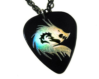 Black and Holo Silver Dragon guitar pick necklace
