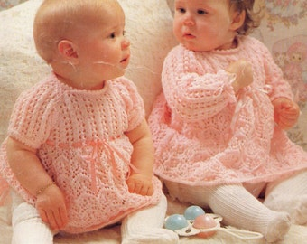 Baby Girl  Lace Dress Vintage Knitting Pattern PDF Digital Download